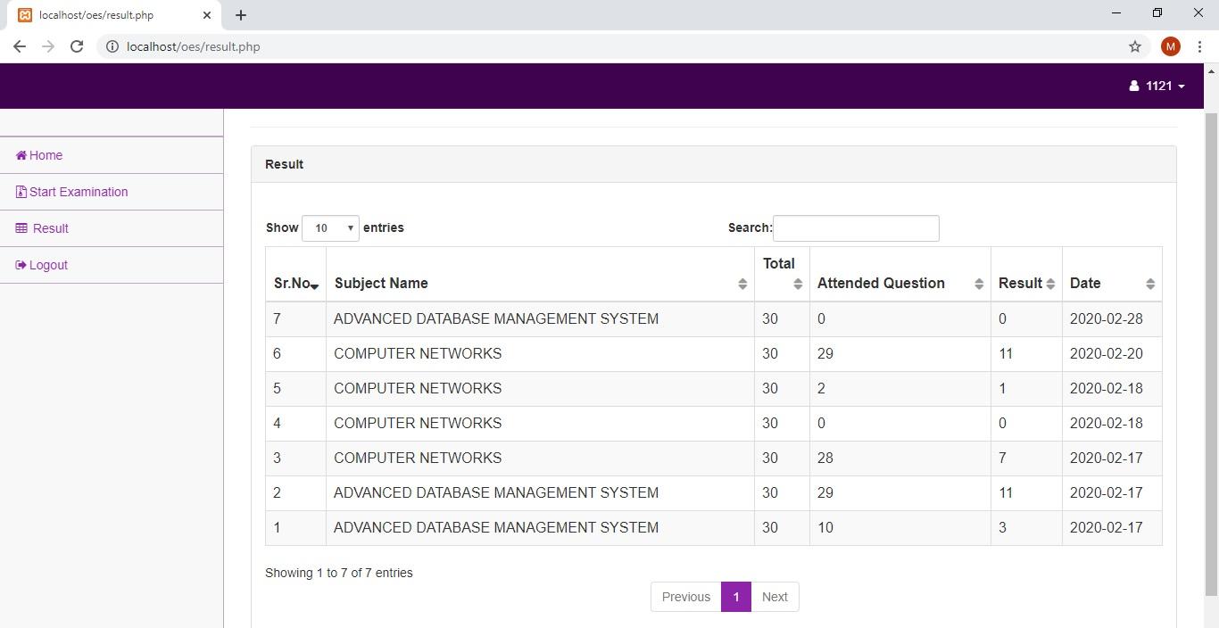 Système de gestion des examens en ligne Code source PHP MySQL