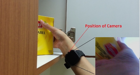 Fig.6: Vue de la caméra et une image capturée lors de la cueillette d'un élément