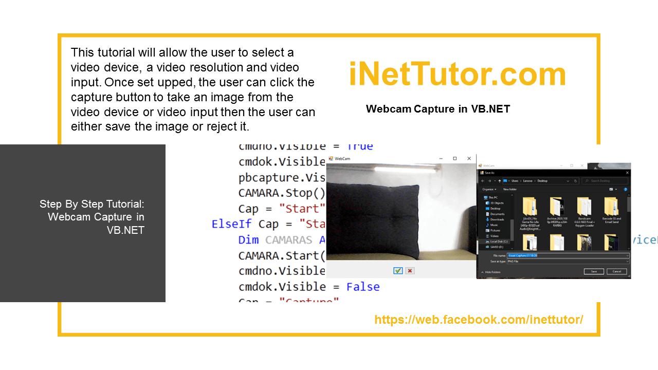 Capture de webcam dans le code source VB.NET et didacticiel