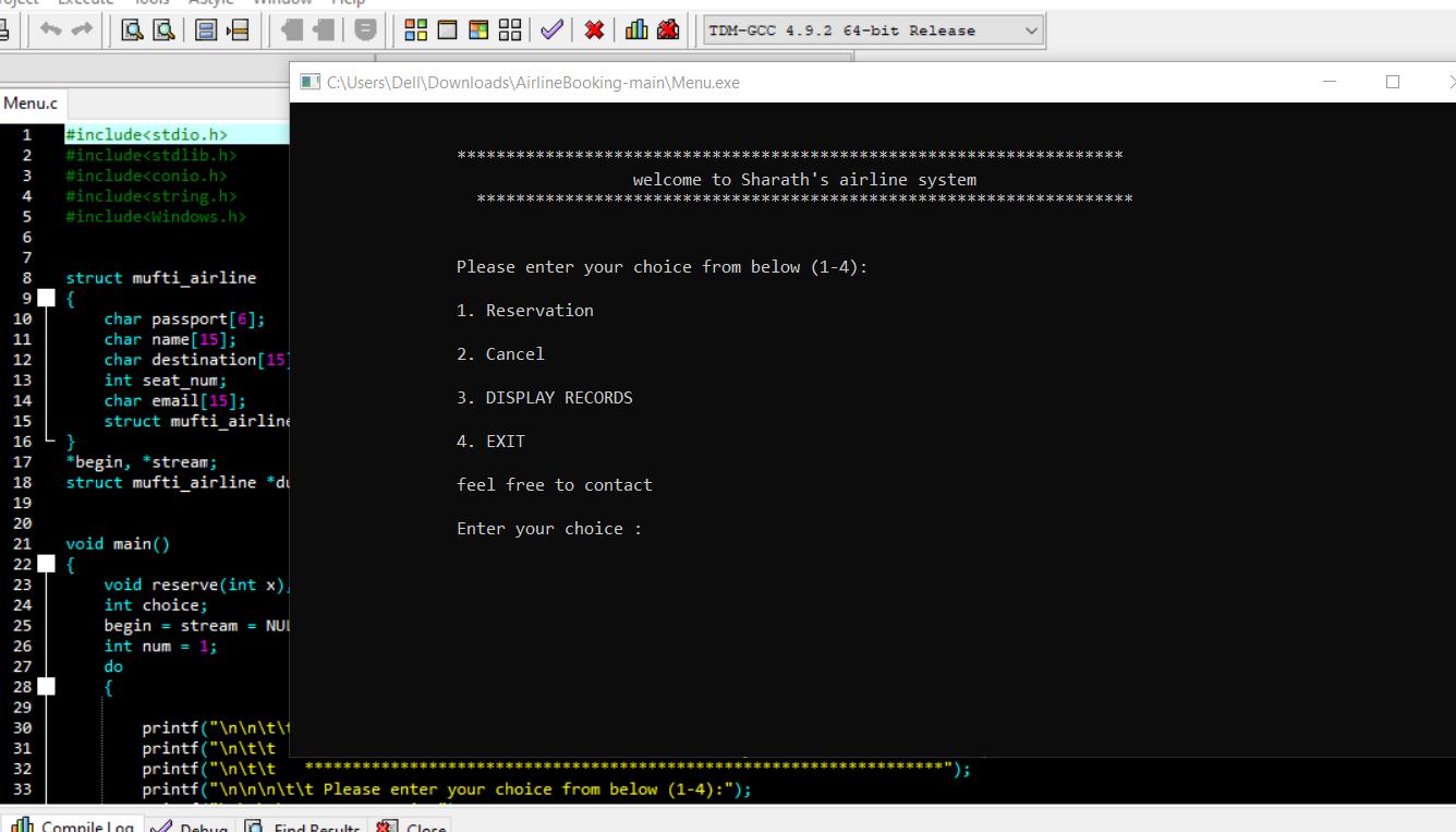 Réservation aérienne en C avec code source
