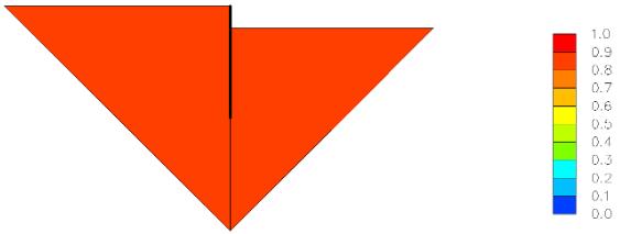 Figure 50- Résistance au cisaillement moyenne mobilisée dans le mécanisme de déformation pour l'étage cantilever