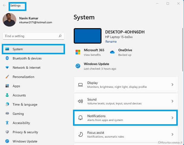 Désactiver les notifications dans Windows 11 à partir des paramètres