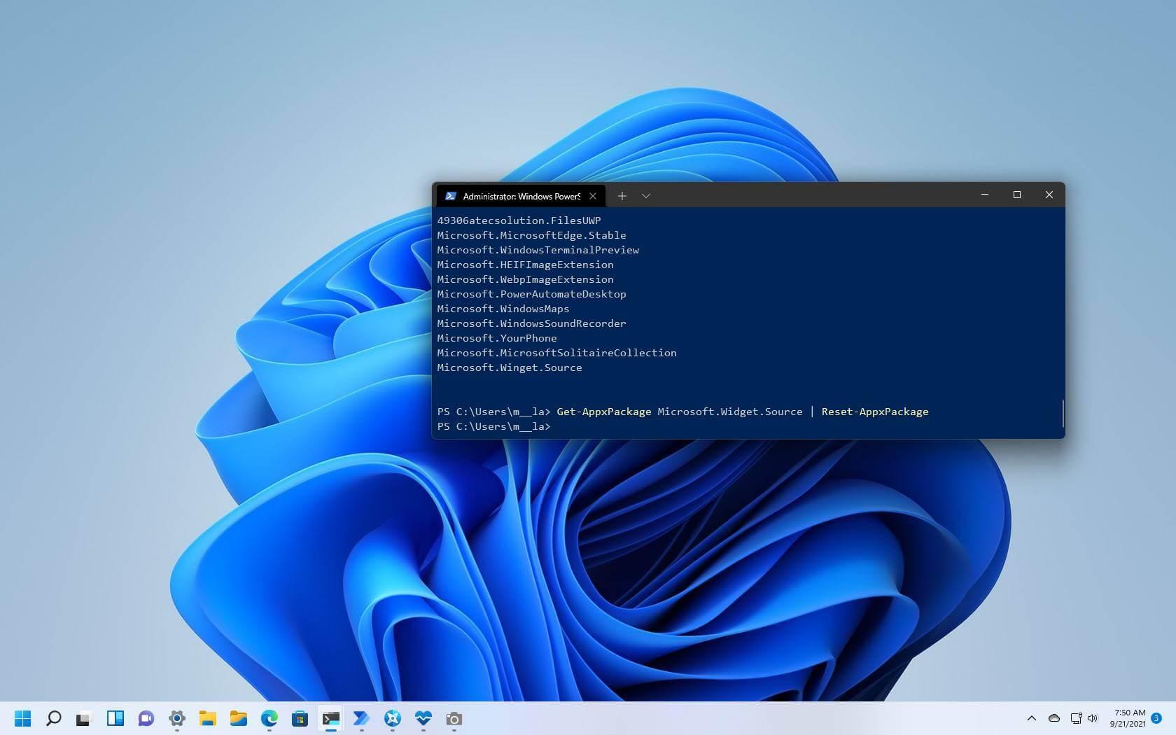 Comment réinitialiser l'application à l'aide de PowerShell sur Windows 11